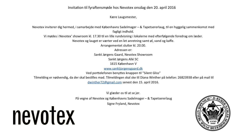 Invitation til fyr aftensmøde hos Nevotex onsdag den